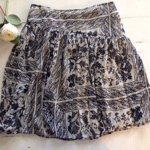 Navy Cream Floral Full Chiffon Skirt